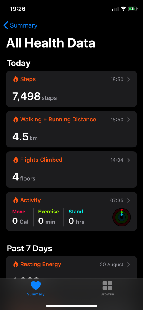 Todays step count. Diet exercises.